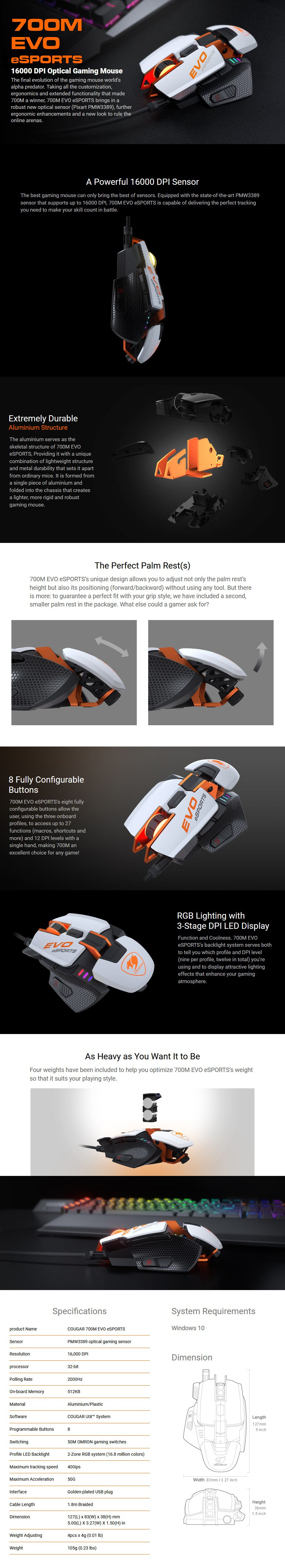 Cougar 700M EVO eSPORTS RGB Optical Gaming Mouse - White - Overview 1