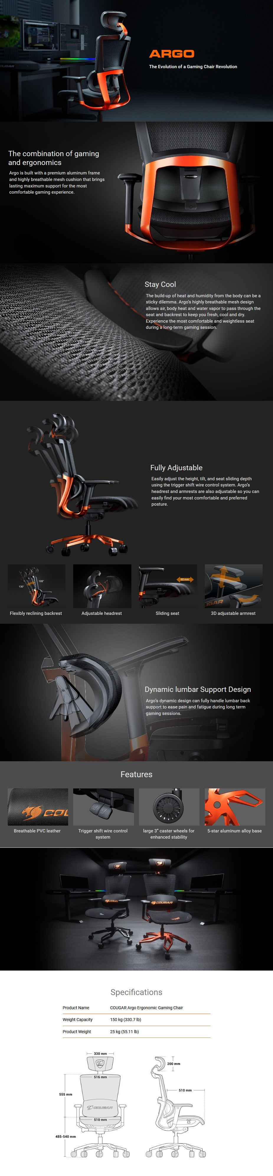 Cougar Argo Ergonomic Gaming Chair - Black - Overview 1
