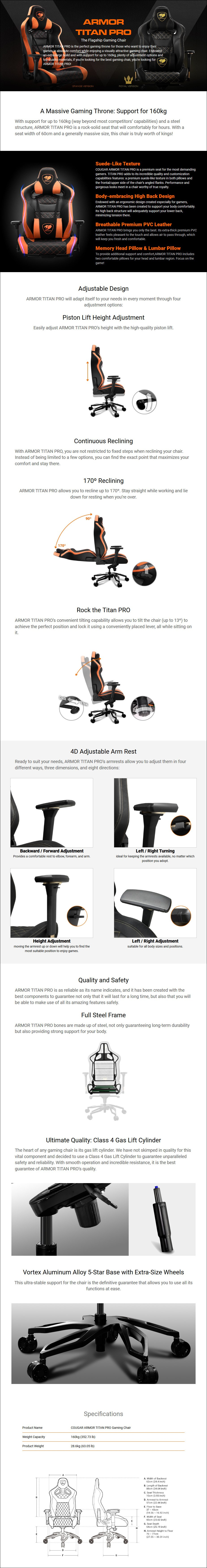 Cougar Armor Titan Pro Gaming Chair - Black/Orange - Overview 1