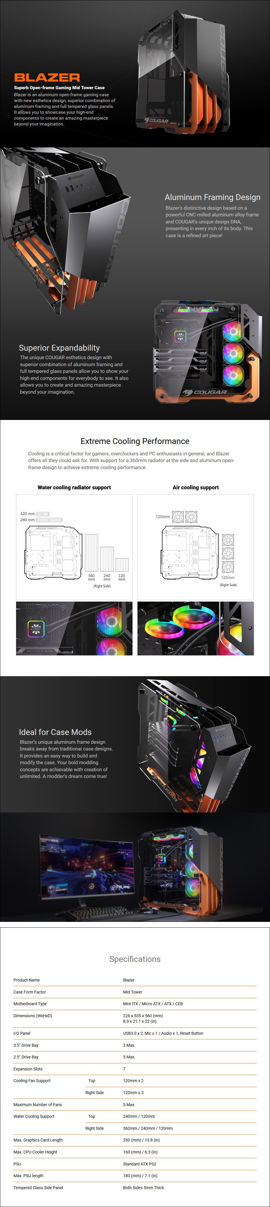 Cougar Blazer Open-Frame Tempered Glass Mid-Tower ATX Case - Overview 1