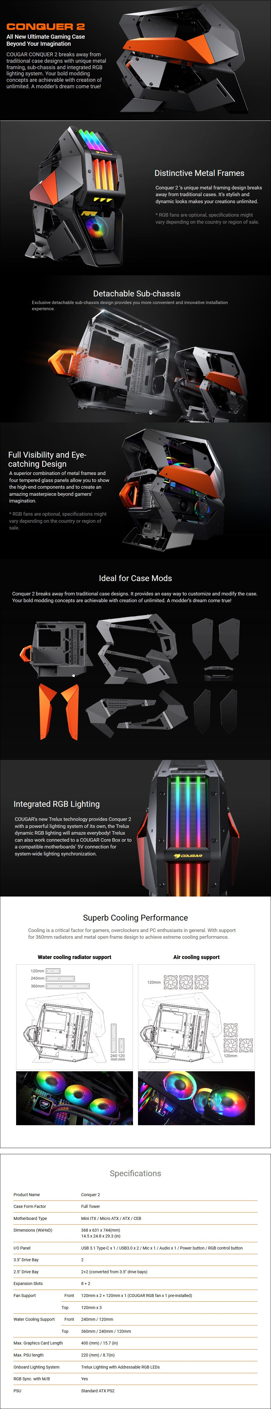Cougar Conquer 2 RGB Tempered Glass Full-Tower ATX Case - Overview 1