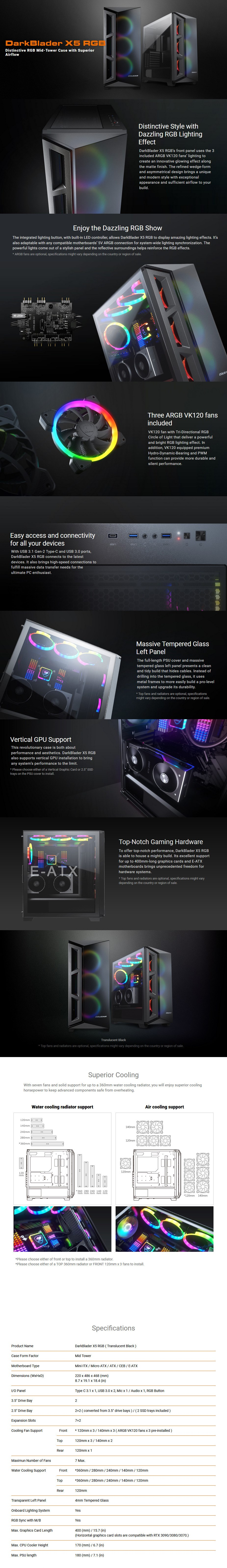 Cougar DarkBlader X5 RGB Tempered Glass Mid-Tower E-ATX Case - Overview 1