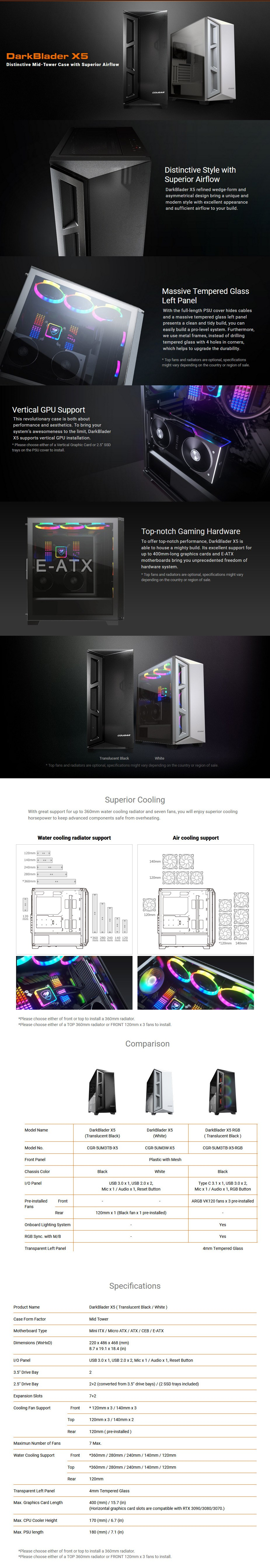 Cougar DarkBlader X5 Tempered Glass E-ATX Mid Tower Case - White - Overview 1