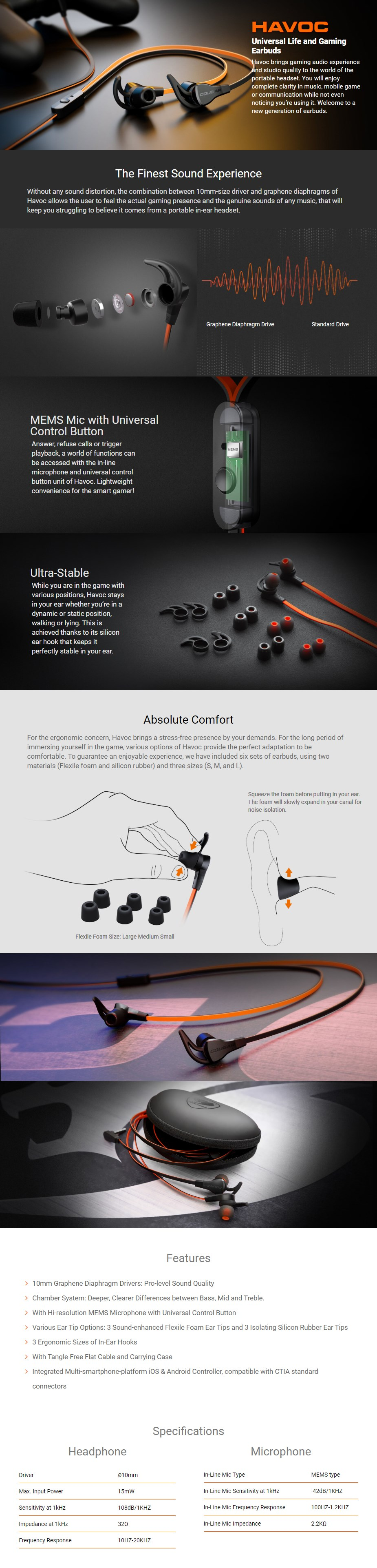Cougar Havok Earbuds with Microphone - Desktop Overview 1