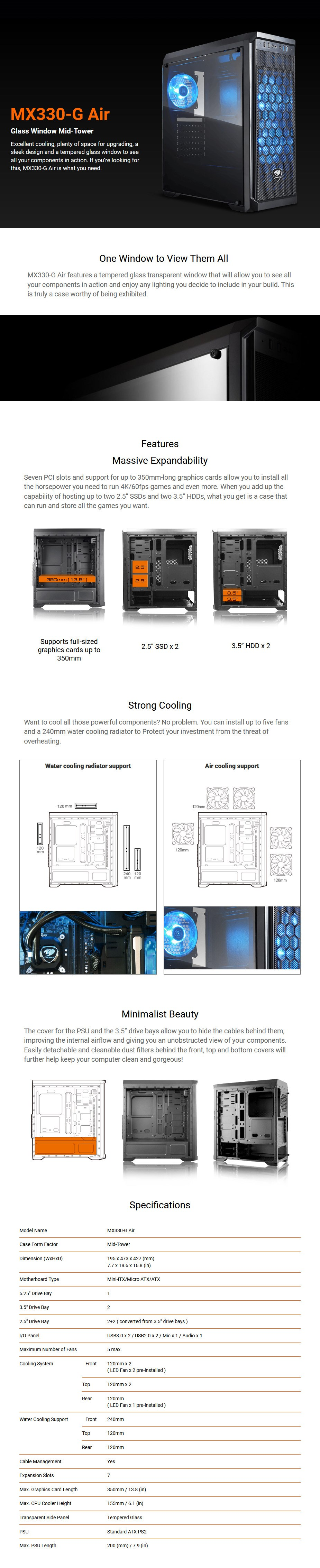 Cougar MX330-G Air Tempered Glass Mid-Tower ATX Case - Overview 1
