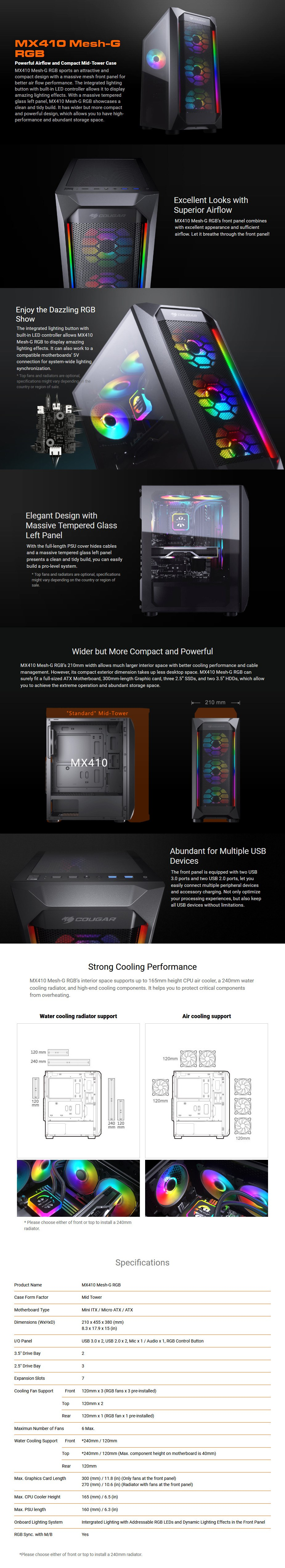 Cougar MX410 Mesh-G RGB Tempered Glass Mid-Tower ATX Case - Overview 1