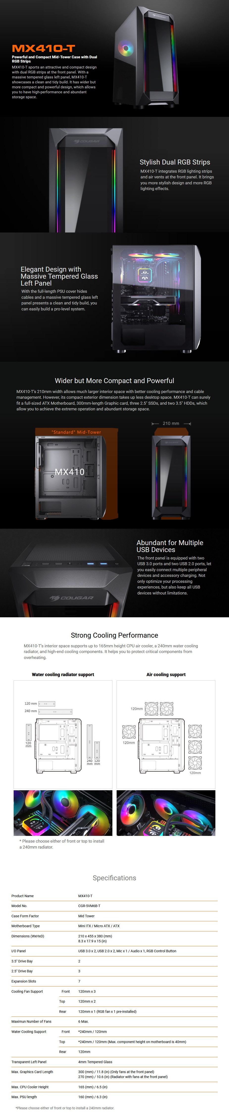 Cougar MX410-T RGB Tempered Glass Mid-Tower ATX Case - Overview 1