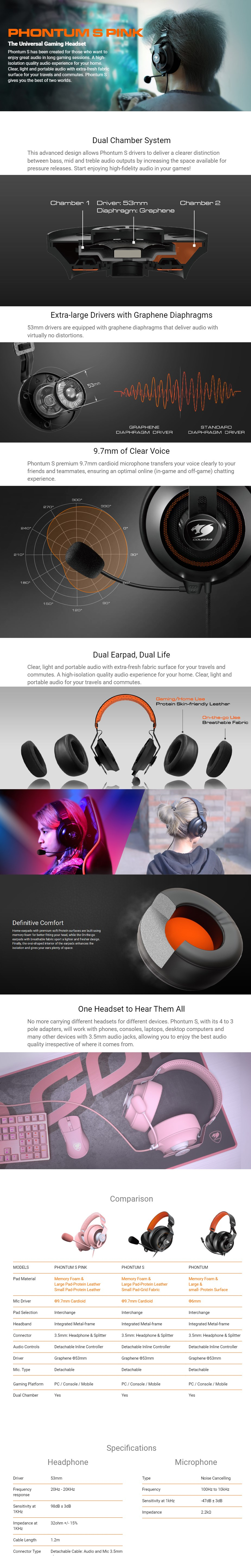 Cougar Phontum S Wired Gaming Headset - Pink - Overview 1