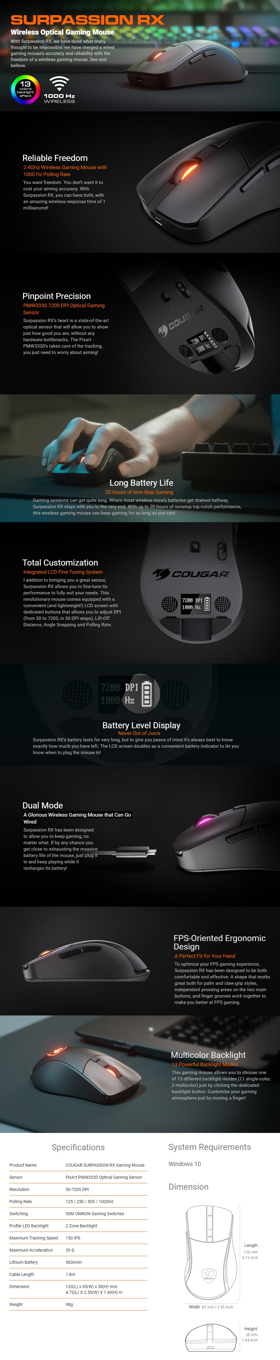 Cougar Surpassion RX Wireless RGB Gaming Mouse - Desktop Overview 1