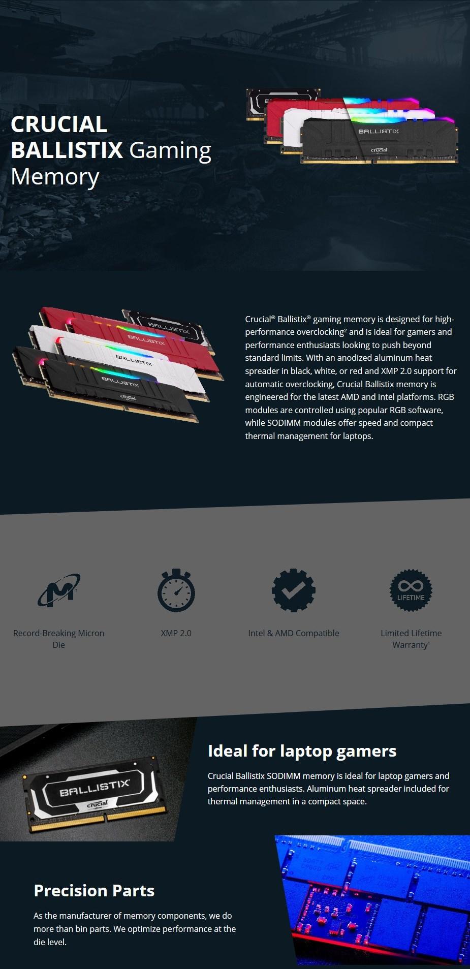 rucial Ballistix 64GB (2x 32GB) DDR4 3200MHz SODIMM Memory - Black - Overview 1