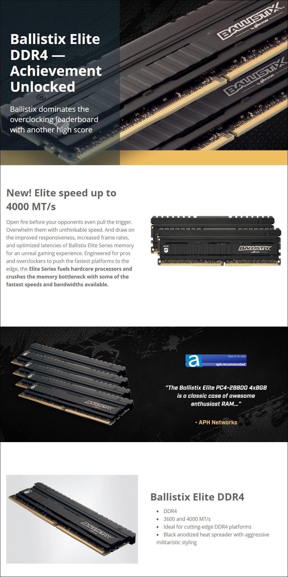 Crucial Ballistix Elite 16GB (2x 8GB) DDR4 4000MHz Memory - Overview 1