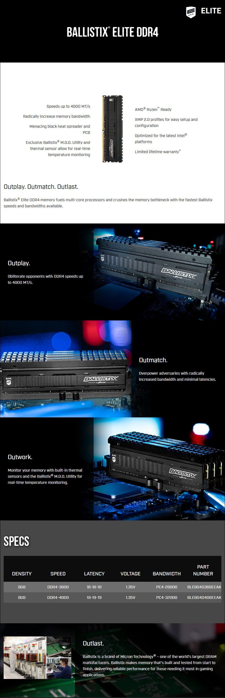 Crucial Ballistix Elite 8GB (1x 8GB) DDR4 4000MHz Memory - Overview 1