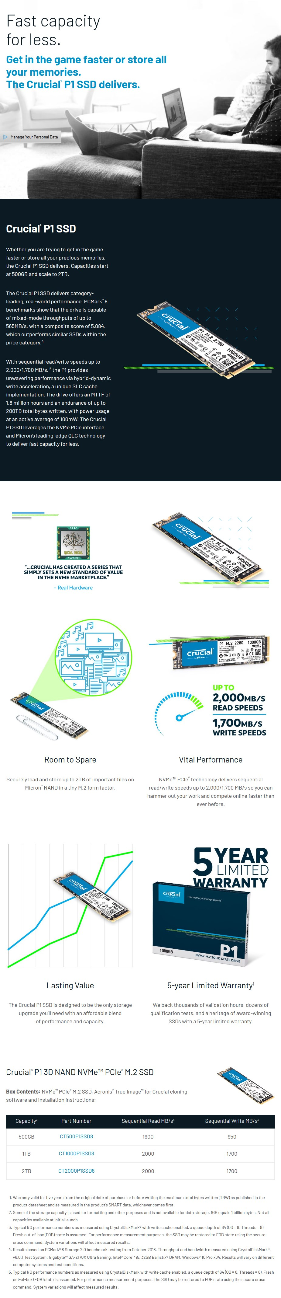 Crucial P1 2TB NVMe M.2 PCIe 3D NAND SSD CT2000P1SSD8 - Overview 1