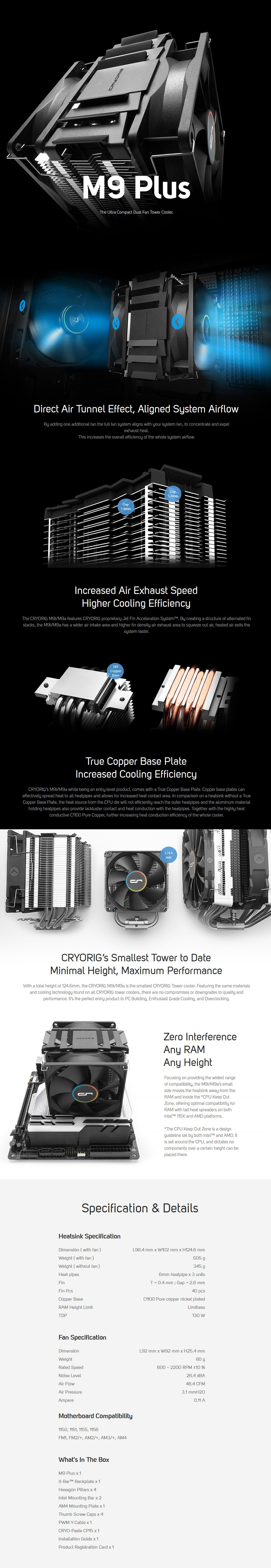 Cryorig M9 Plus Dual Fan Air CPU Cooler - Overview 1