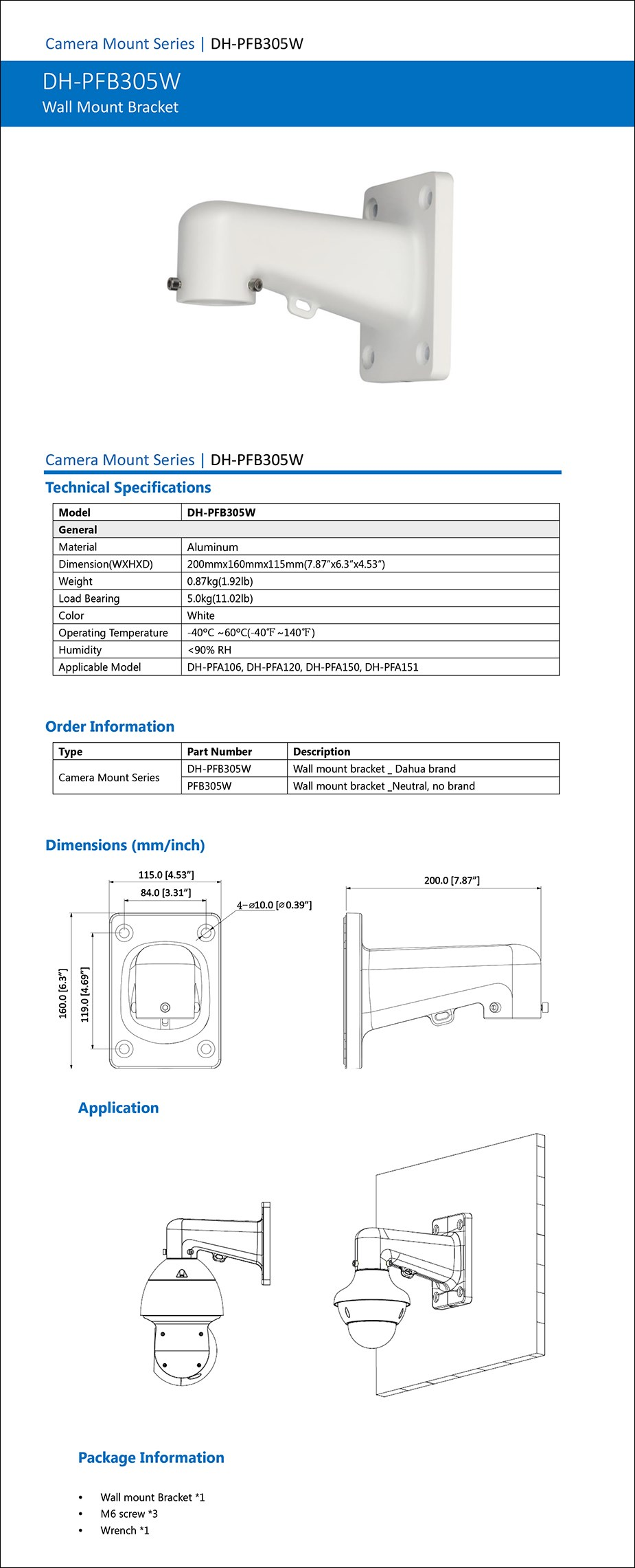 Dahua DH-AC-PFB305W Wall Mount Bracket with Safety Rope Hook - Overview 1