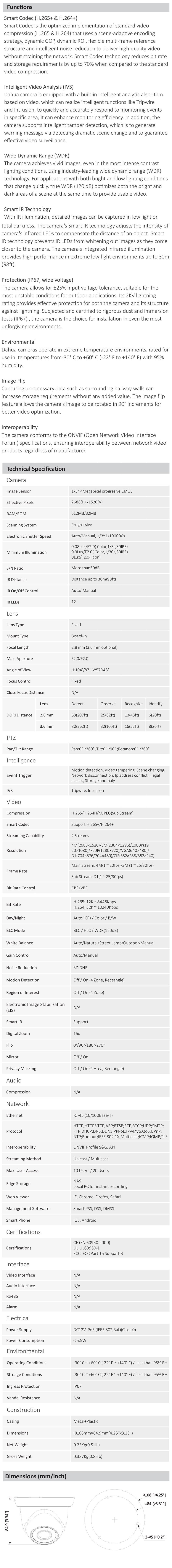 Dahua DH-IPC-HDW1431S 4MP WDR IR Eyeball Network Camera - Overview 1