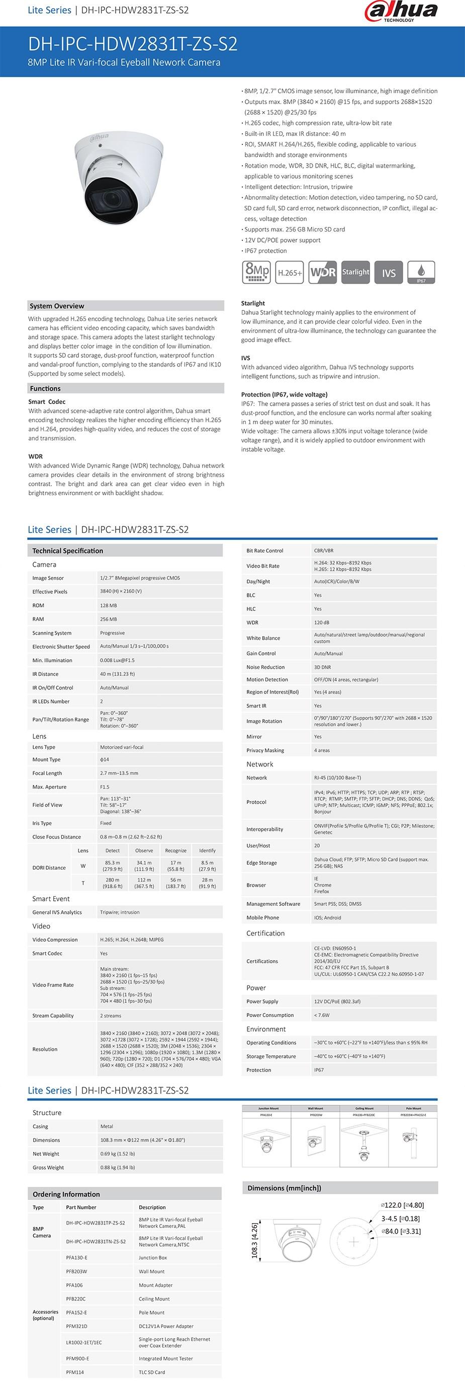 Dahua DH-IPC-HDW2831TP-ZS-27135-S2 4K 8MP Vari-Focal EyeBall Network Camera - Overview 1