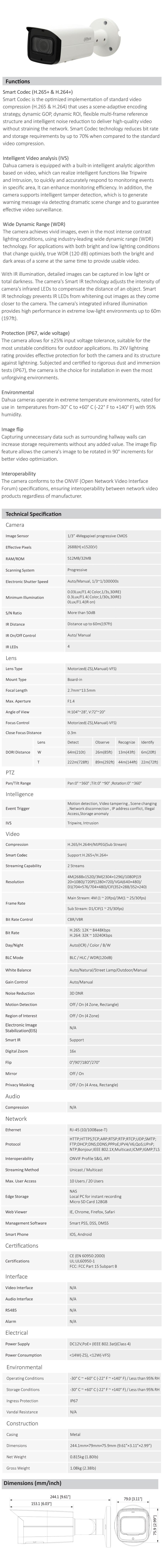 Dahua DH-IPC-HFW2431T-ZS 4MP WDR IR Bullet Camera - Overview 1