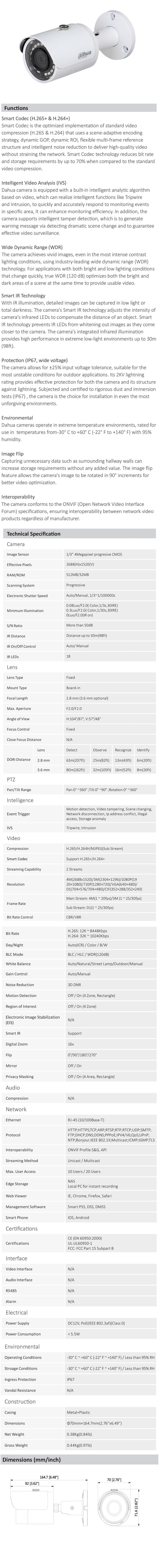 Dahua IPC-HFW1431SP-280B 4MP WDR IR Mini-Bullet Camera - Overview 1