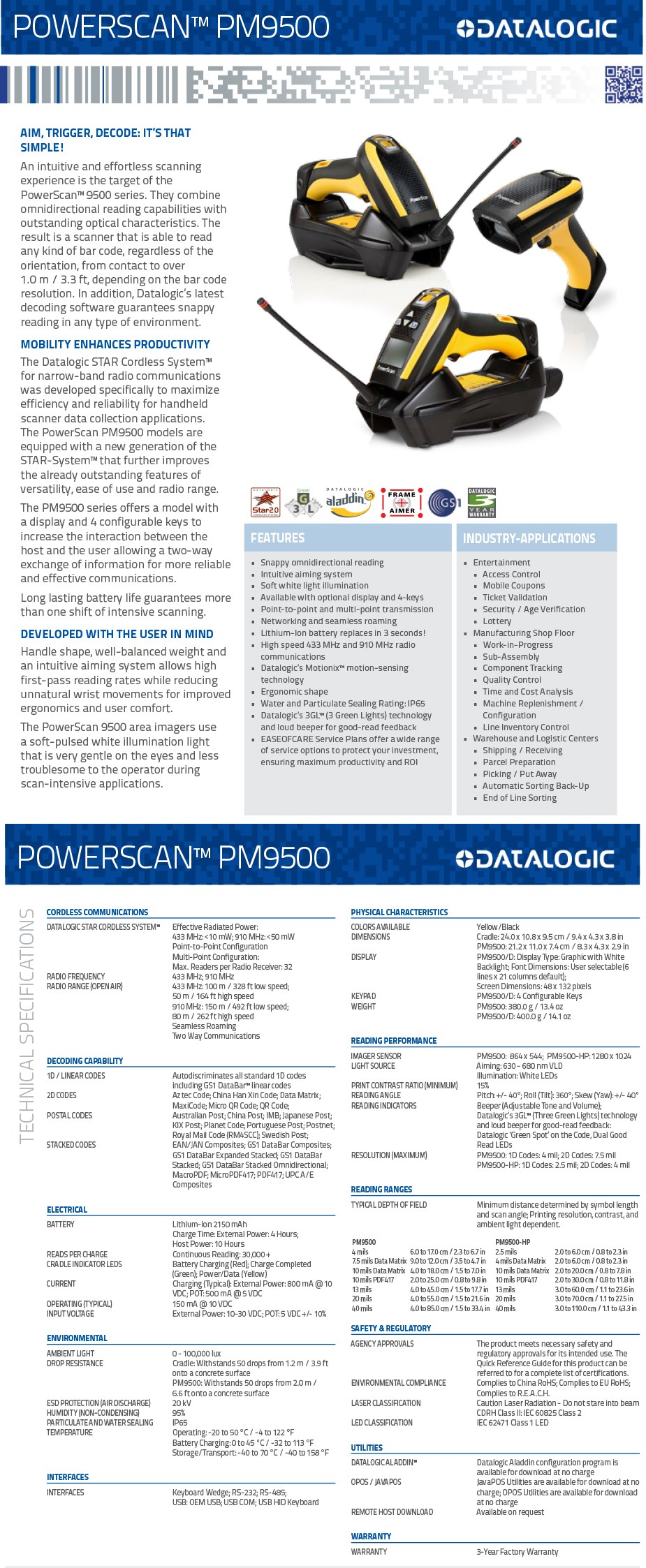 Datalogic Powerscan PM9500 Scanner with Base, Charger, PSU and Interface Cable  - Overview 1