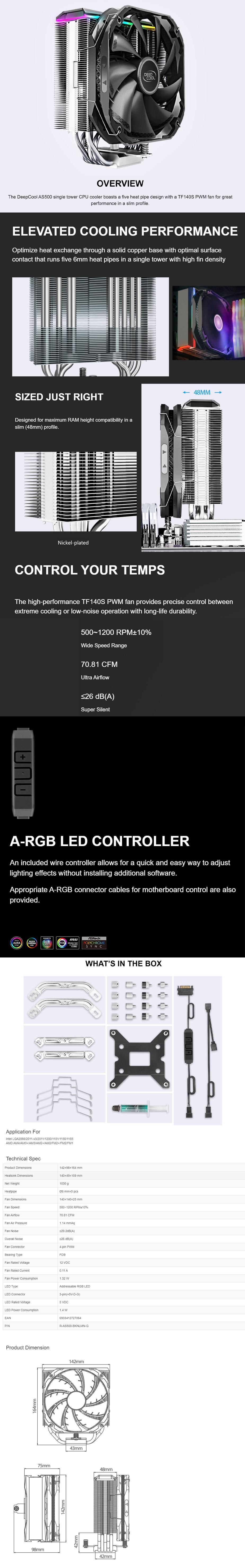 Deepcool AS500 CPU Cooler - Overview 1