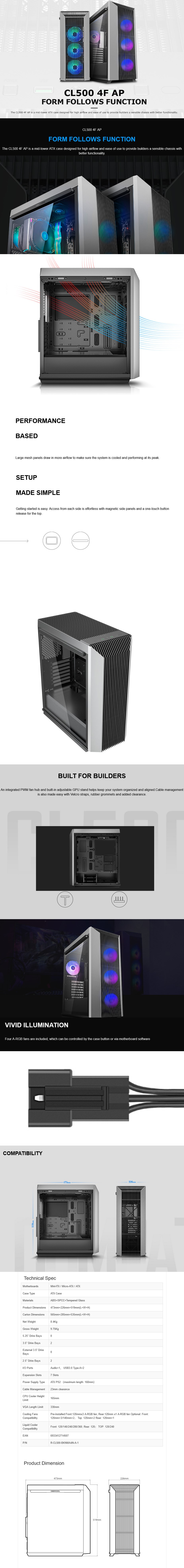 Deepcool CL500 4F AP Tempered Glass Mid-Tower ATX Case - Overview 1