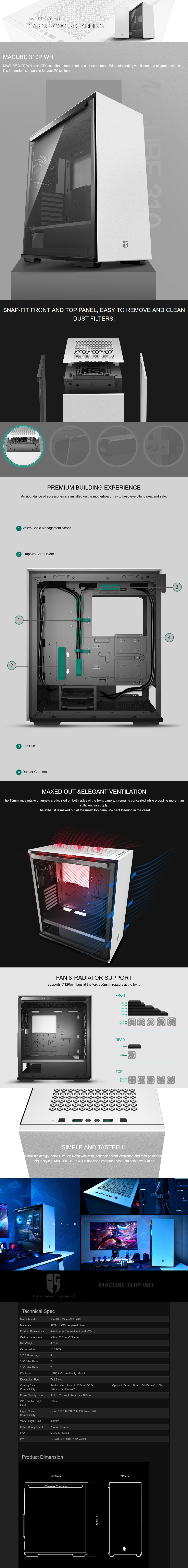 Deepcool Gamer Storm MACUBE 310P Tempered Glass Mid-Tower ATX Case - White - Overview 1