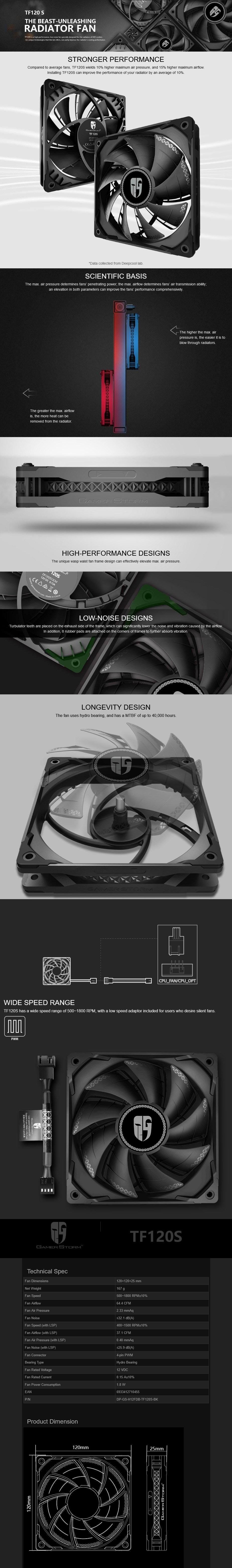 Deepcool Gamer Storm TF120 S 120mm 1800RPM Radiator Fan - Black - Overview 1