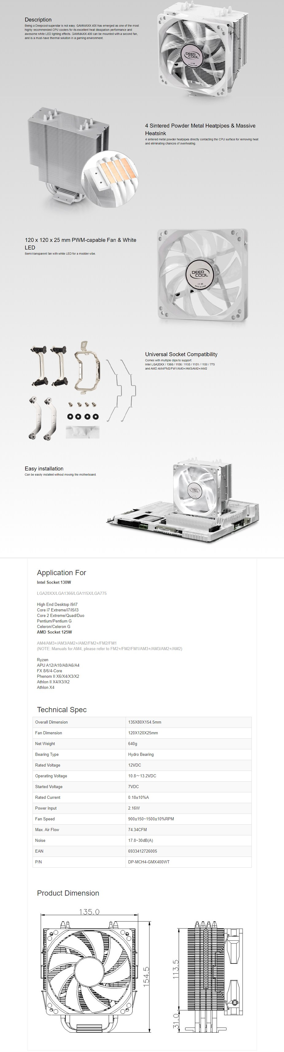 Deepcool GAMMAXX 400 120mm PWM Fan CPU Cooler - White