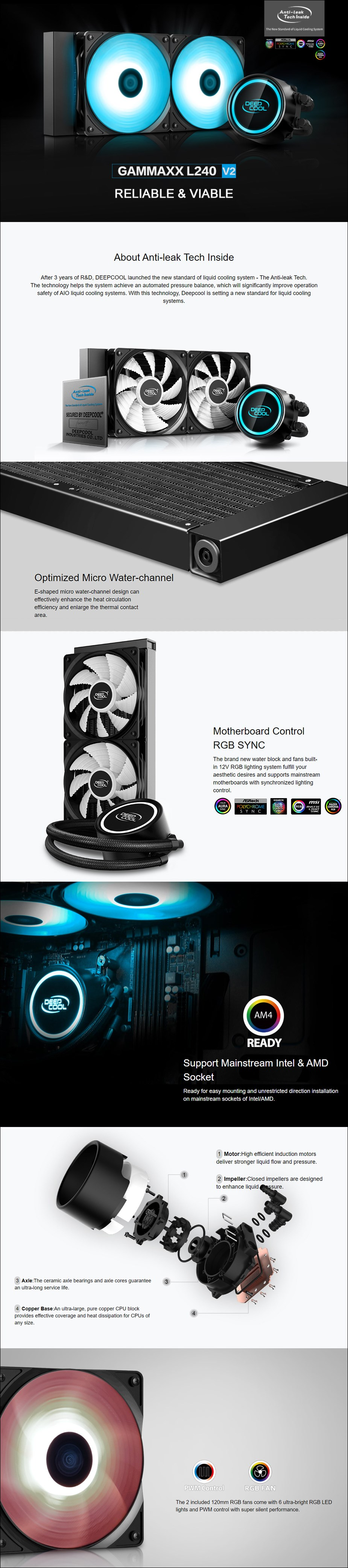 Deepcool Gammaxx L240 v2 RGB LED Liquid CPU Cooler - Overview 1