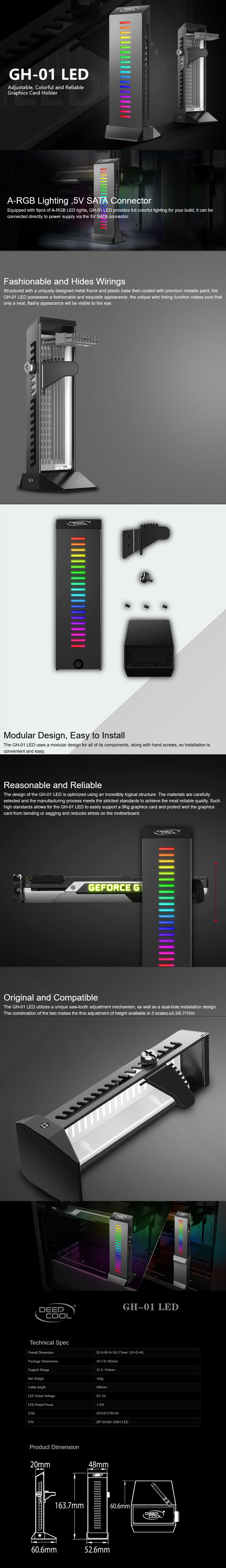 Deepcool GH-01 LED A-RGB Adjustable Internal Graphics Card Holder - Overview 1