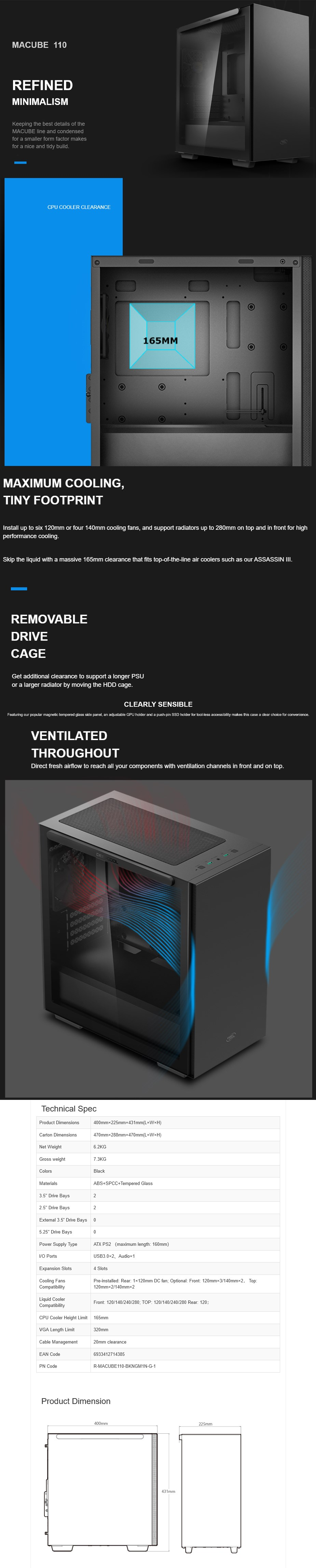 Deepcool MACUBE 110 Tempered Glass Mini Tower Micro-ATX Case - Black - Overview 1