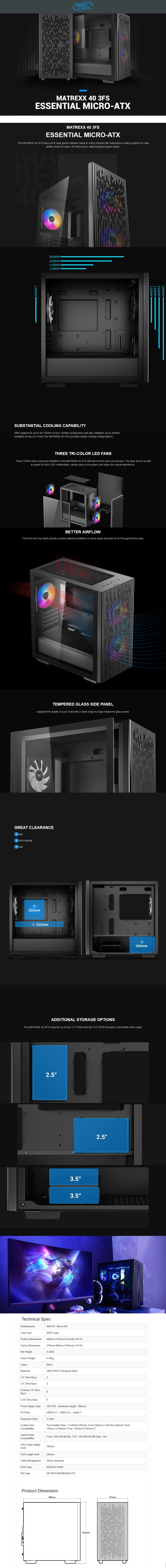 Deepcool Matrexx 40 3FS Tempered Glass Micro-ATX Case  - Overview 1