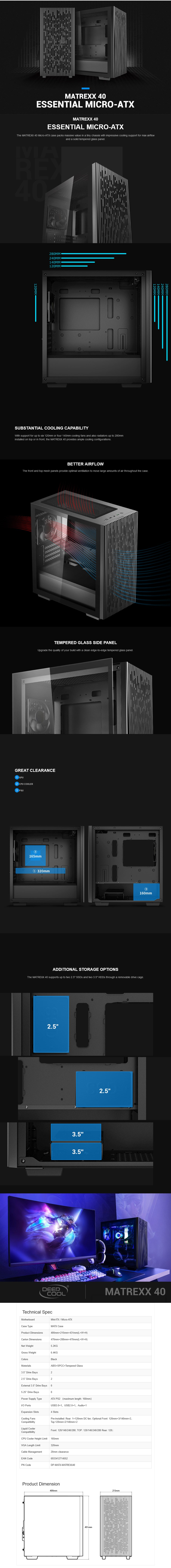 Deepcool MATREXX 40 Tempered Glass Micro-ATX Case - Black - Desktop Overview 1