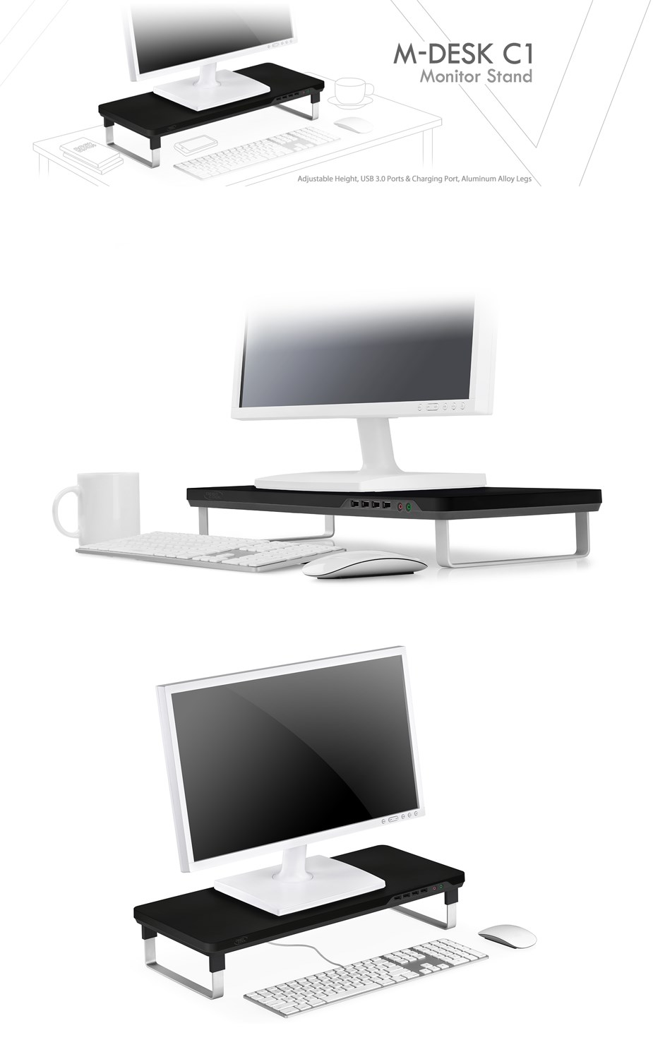 Deepcool M-DESK C1 Height Adjustable Monitor Stand with USB Ports - Overview 1