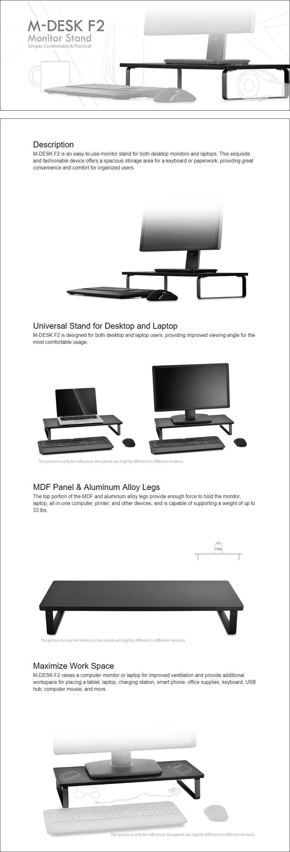 Deepcool M-DESK F2 Universal Monitor Stand - Overview 1