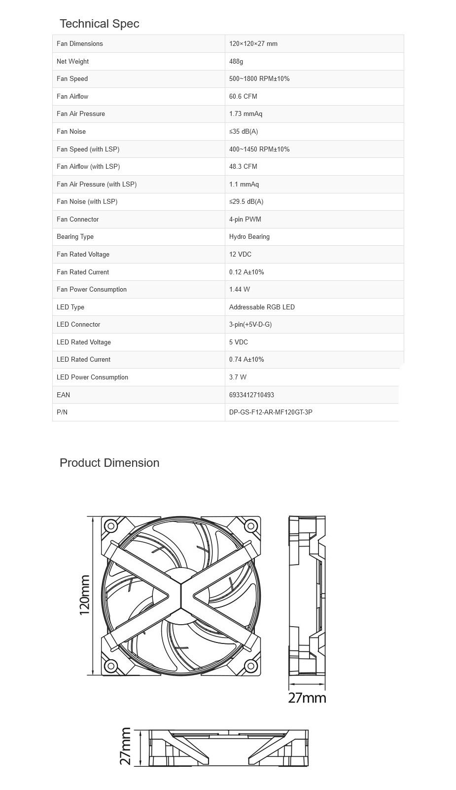 Deepcool MF120 GT ARGB 120mm Case Fan - 3-in-1 Pack - Overview 2
