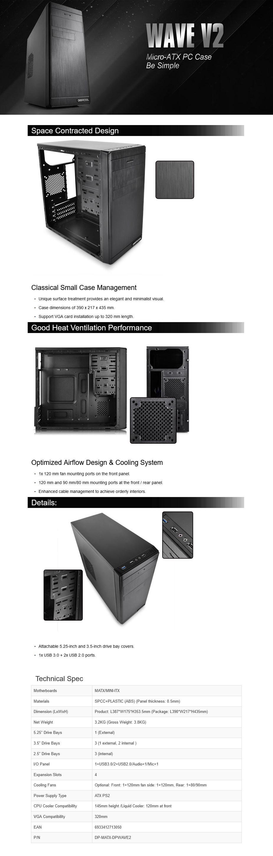 Deepcool Wave V2 Mini-ITX Case - Black - Overview 1