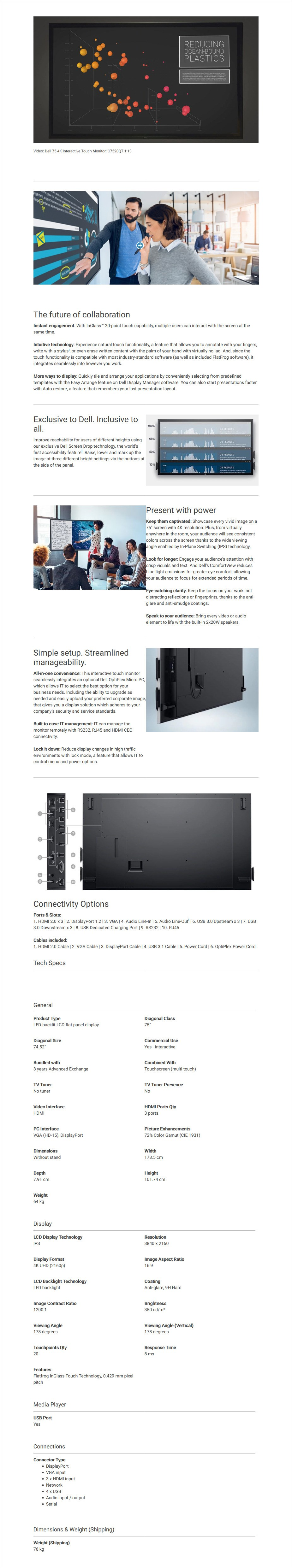 """Dell C7520QT 75"""" 4K UHD Interactive IPS Touch Display - Overview 1"""
