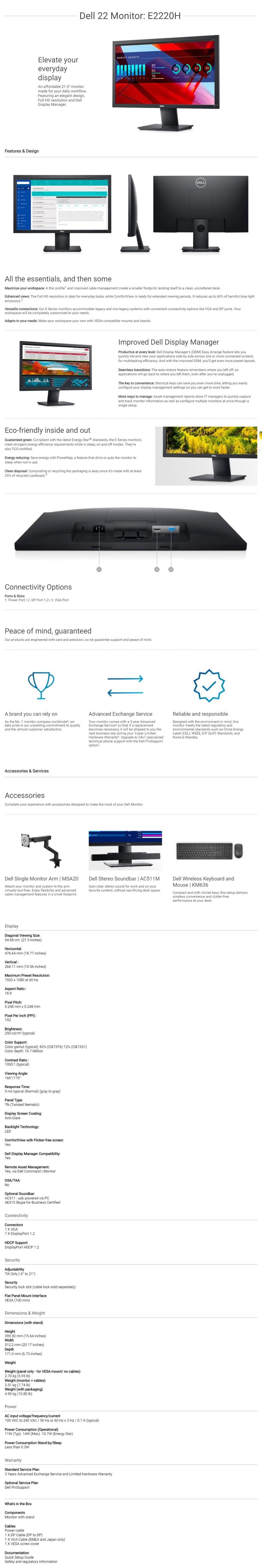 """Dell E2220H 21.5"""" Full HD Anti-Glare TN Monitor - Overview 1"""
