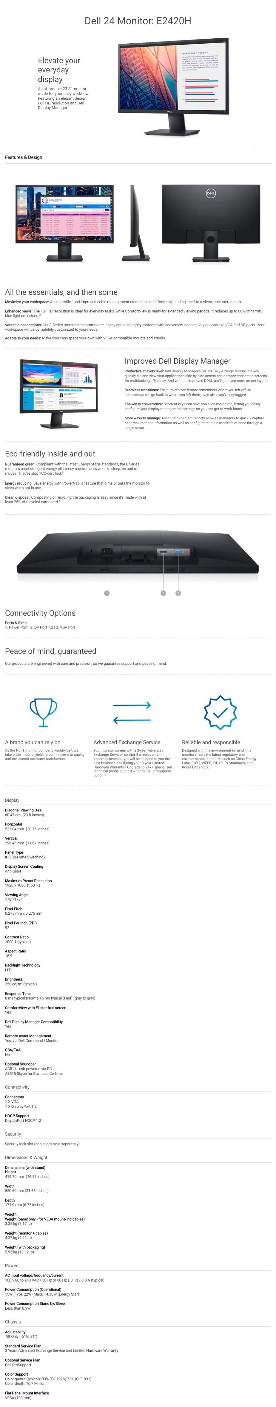 """Dell E2420H 23.8"""" Full HD Anti-Glare IPS Monitor - Overview 1"""