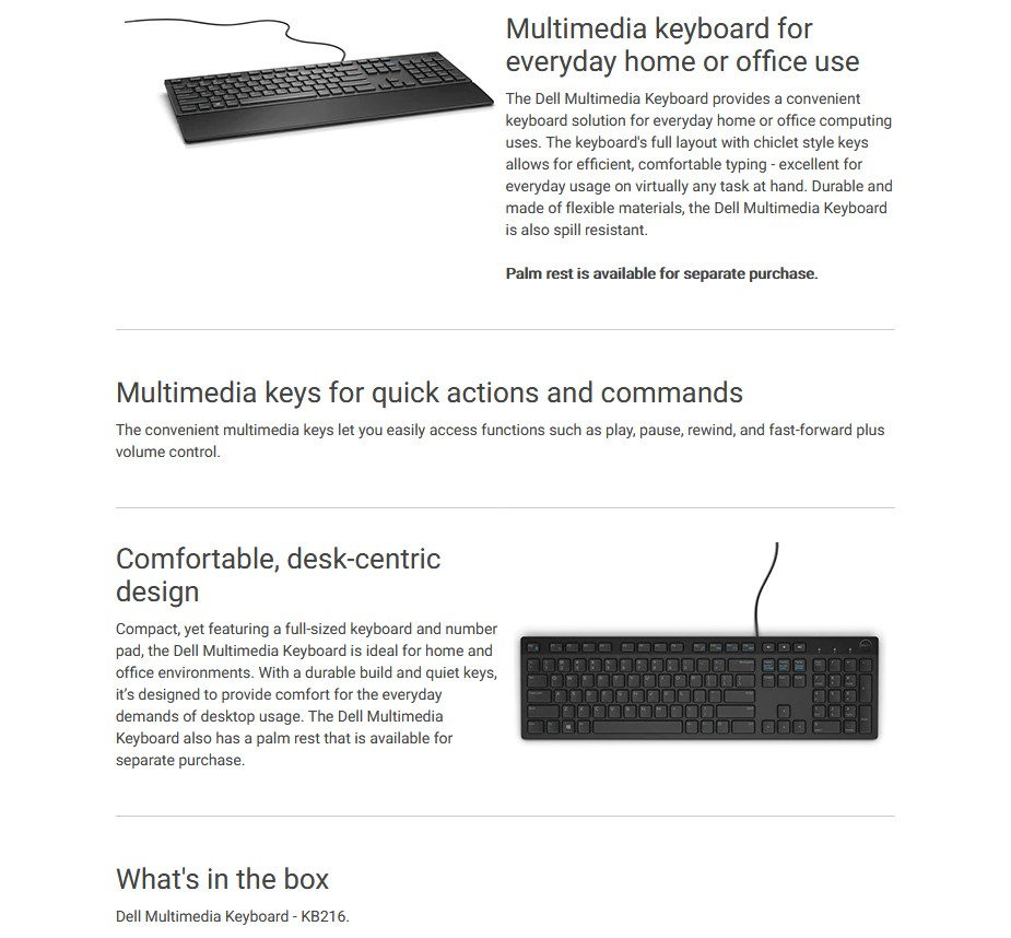 Dell KB216 Multimedia Keyboard - Overview 1