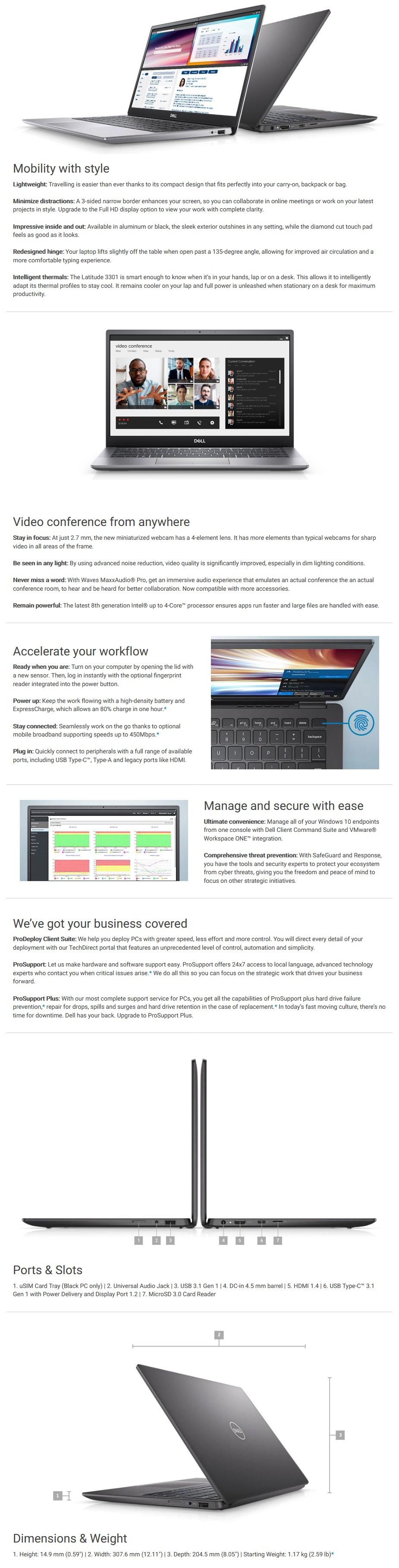 """Dell Latitude 3301 13.3"""" Laptop i5-8265U 8GB 256GB W10P - Overview 1"""
