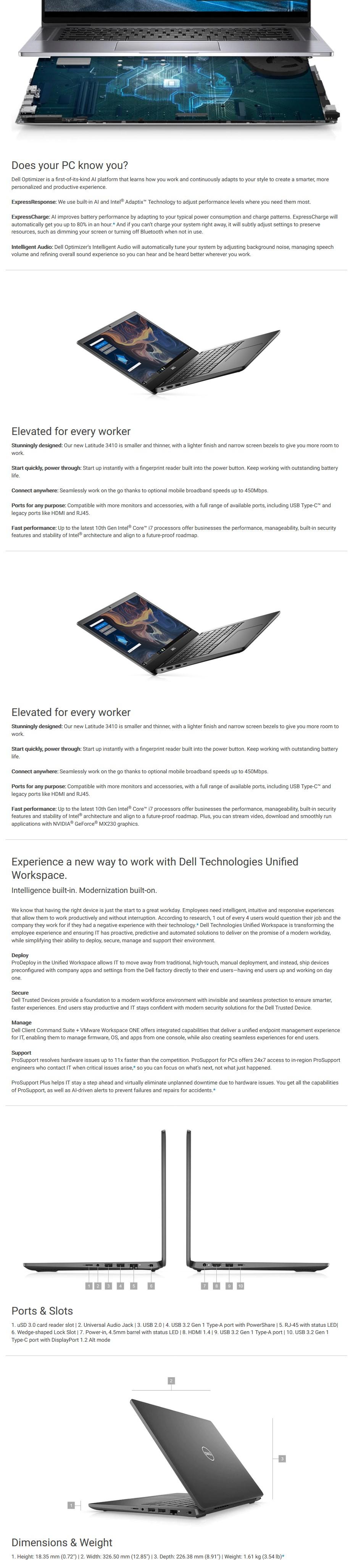 """Dell Latitude 3410 14"""" Laptop i7-10510U 8GB 256GB W10P - Overview 1"""