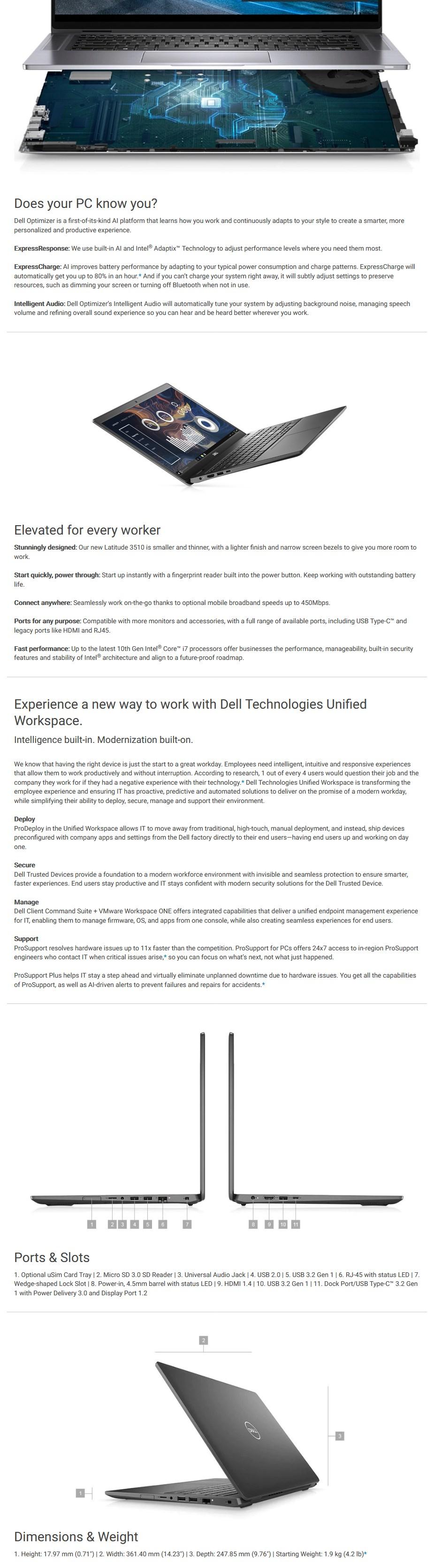 """Dell Latitude 3510 15.6"""" Laptop i5-10210U 8GB 256GB W10P - Overview 1"""