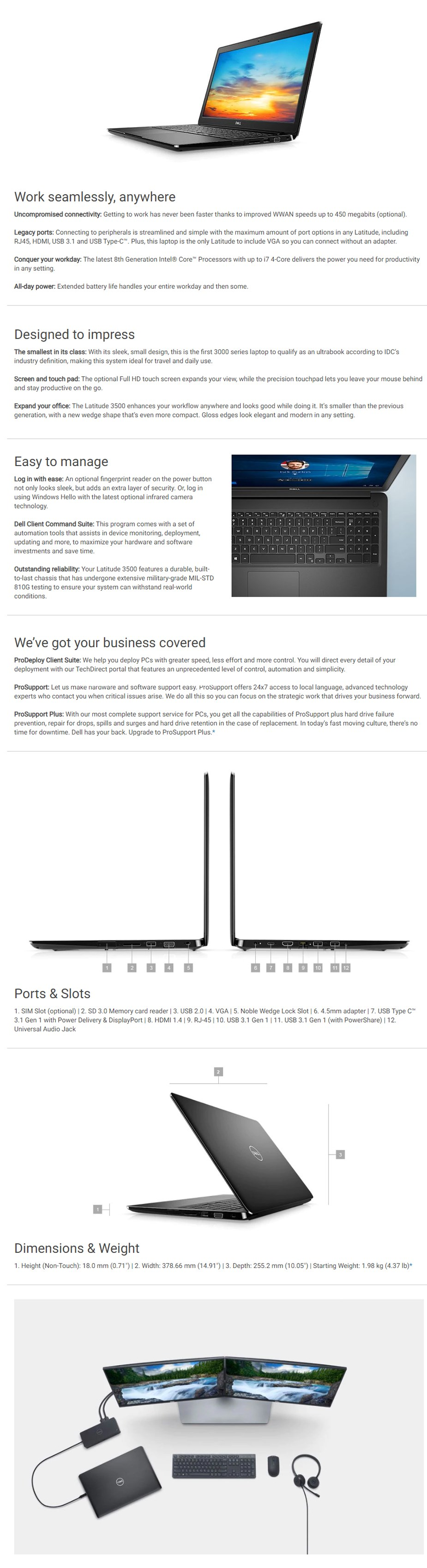 "Dell Latitude 56KX8 15.6"" Laptop i5-8265U 8GB 256GB W10P - Overview 1"