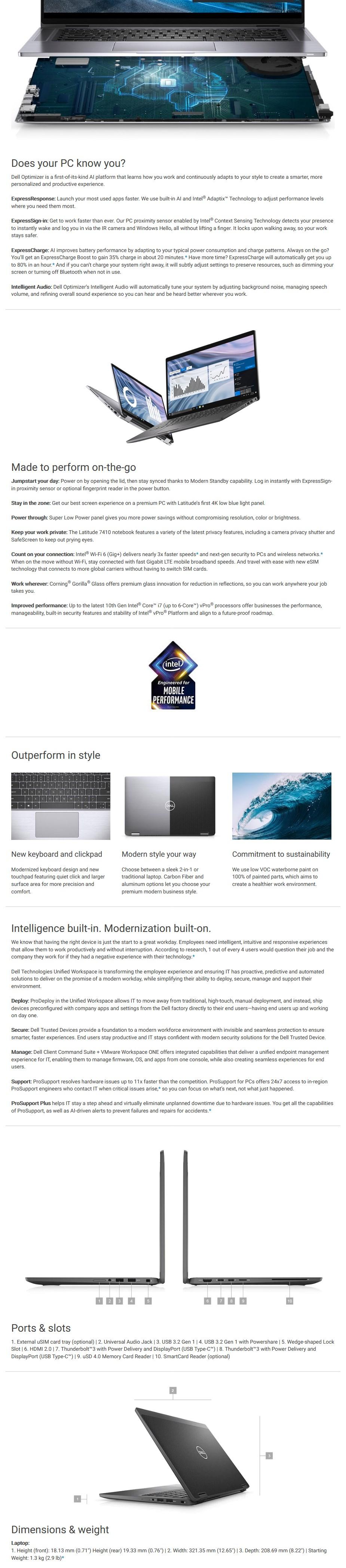 """Dell Latitude 7410 14"""" Laptop i5-10210U 8GB 256GB W10P - Overview 1"""