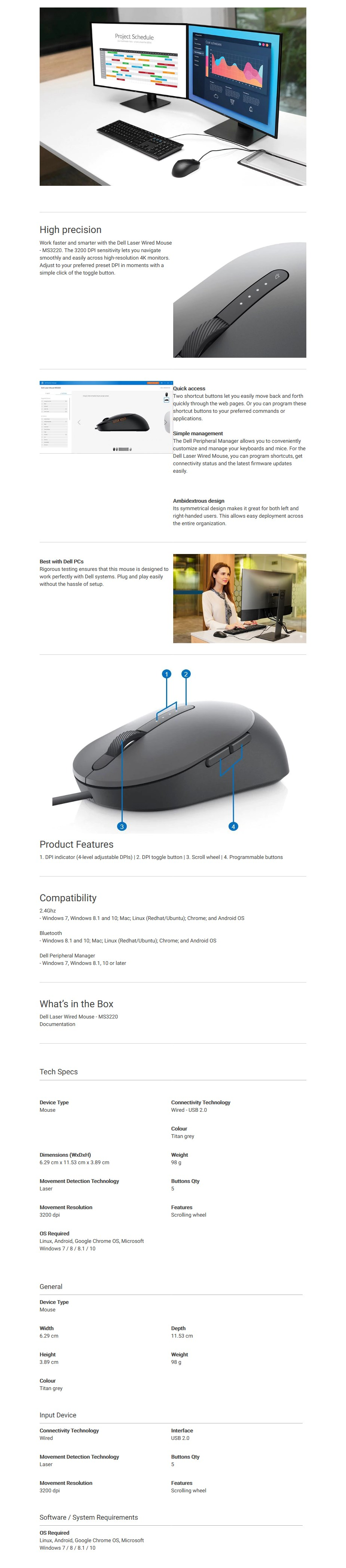 Dell MS3220 Laser Wired Mouse - Overview 1