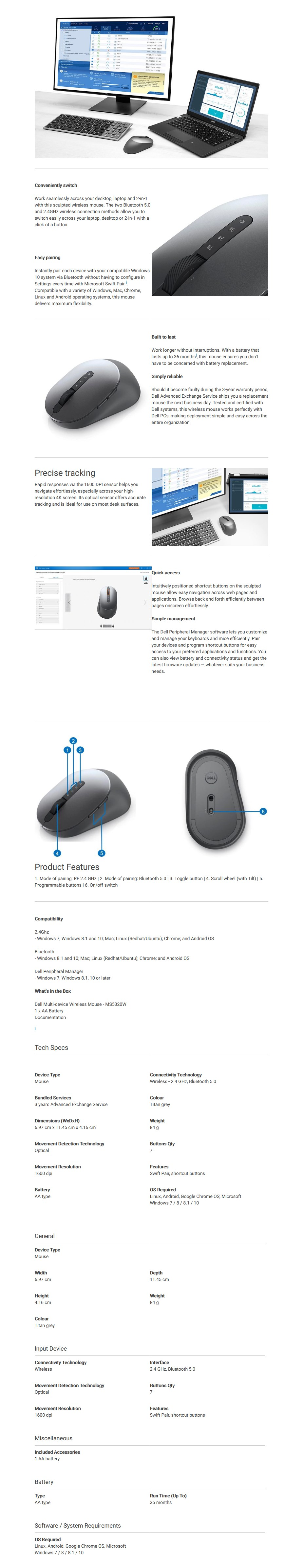 Dell MS5320W Multi-Device Wireless Mouse - Overview 1