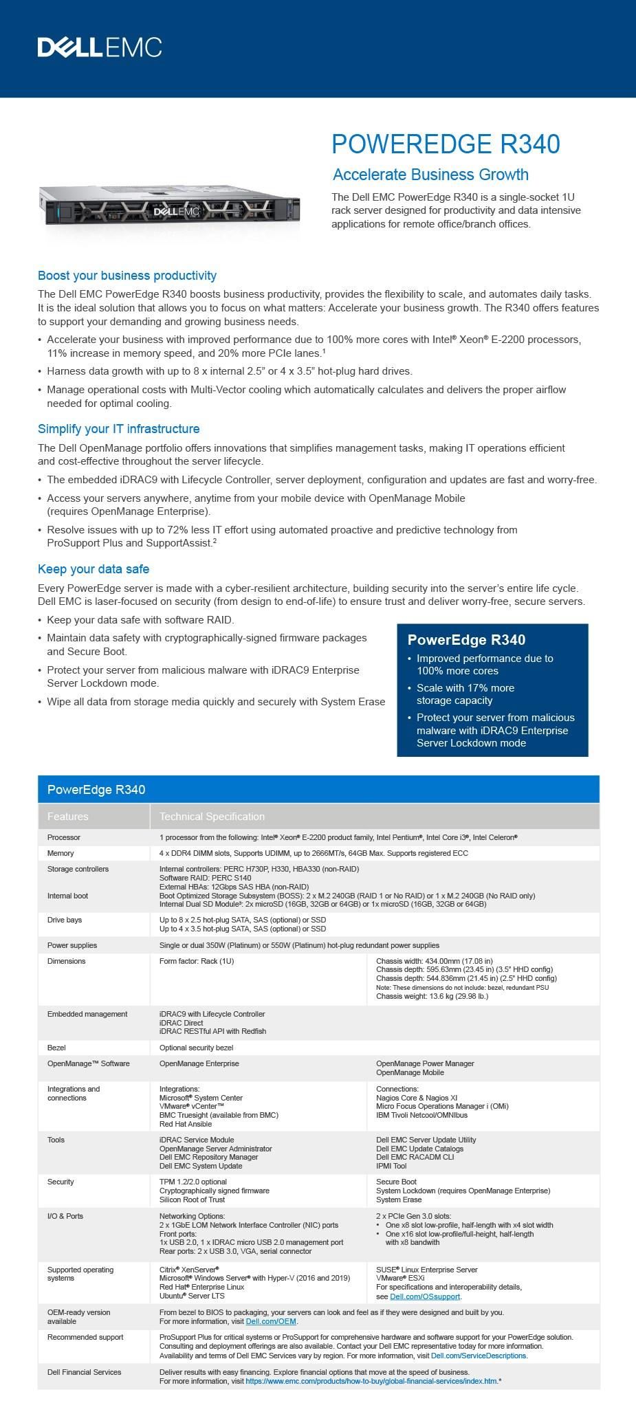 Dell PowerEdge R340 1U Rack Server Intel Xeon E-2224 8GB (1/4) 1TB (1/4) NO OS - Overview 1